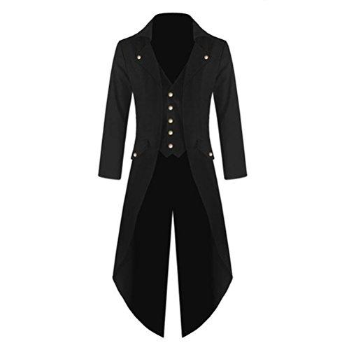 Rera Herren Vintage Steampunk Frack Jacke Gothic Victorian Smoking Coat Steampunk Coat Uniform Kostüm Viktorianisch Mittellang Mantel