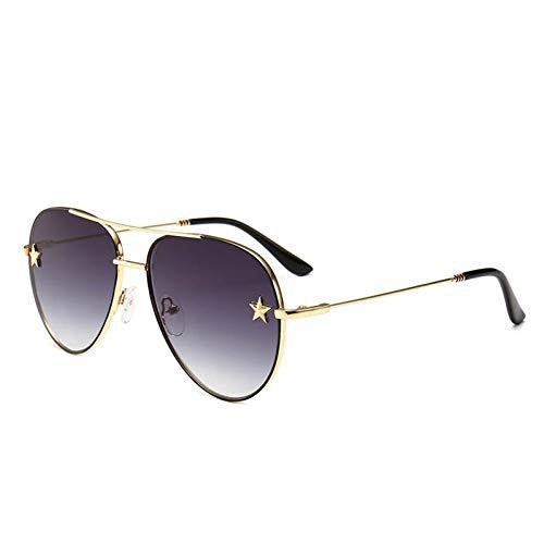 TDPYT Sonnenbrille Frauen Rivet Trim Männlichen Eyewear Doppelstrahl Kröte Objektiv Metallrahmen Männer Sonnenbrille Spiegel
