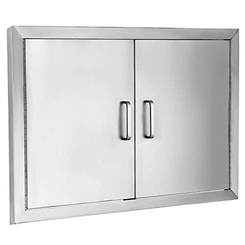 Buoqua 78.7x61cm Kamintür putztür Brenner Gas Grill BBQ Tür Edelstahl Double Access Walled BBQ Door Access Flush für Outdoor-Küche oder BBQ Island (31