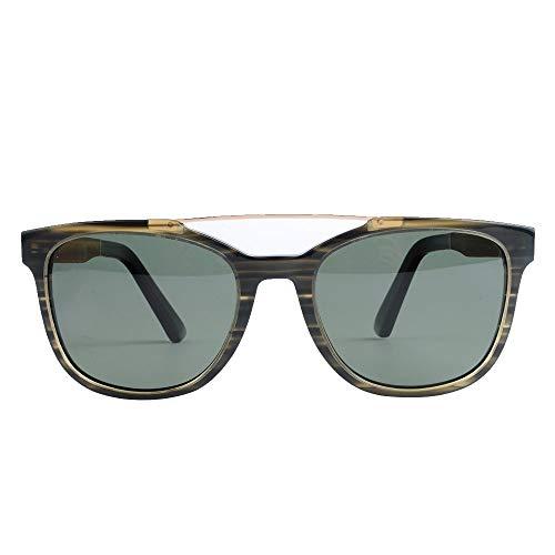 DelongKe Herren Sonnenbrille Verspiegelt Rund,Klassisch Oval Vintage Half Rim Metallgläser Polarisiert Und Antireflexion Sorgen Für 100% Igen Schutz Vor UV-Strahlen,Green