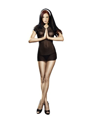 Baci Women's Naughty Nun Set, Black, Diva Size