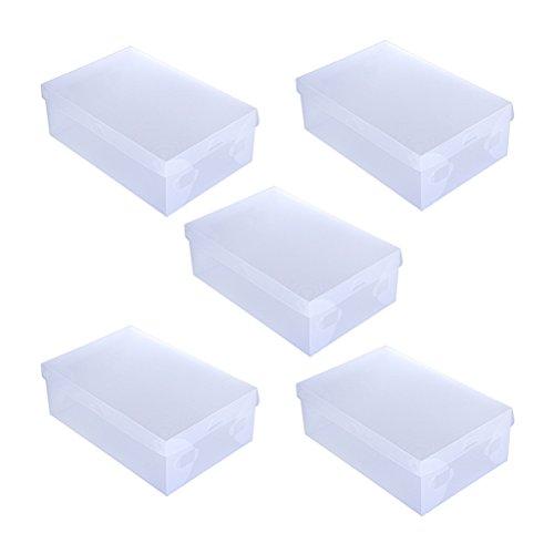 OUNONA Transparenter Herren-Schuhkarton Klappbarer Schuhschrank Kunststoff-Stapelschrank Organisation Weißer Deckel mit transparentem Boden (5er-Pack)