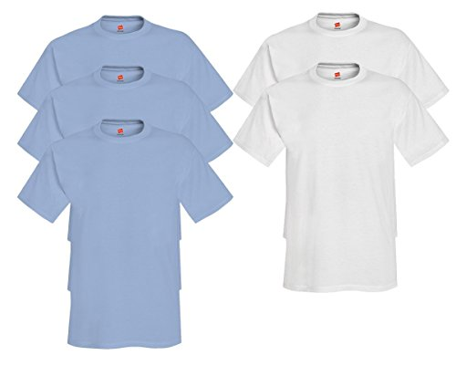 Hanes Mens Tagless Comfortsoft Crewneck T-shirt (Pack of 5) 3 Light Blue / 2 White