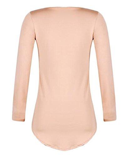 AILIENT Donna Camicia T Shirt Elegante Rotondo Collo Maglie A Manica Lunga Colore Puro Allentato Blouses Comodo Casuale Blusa Camicetta Khaki