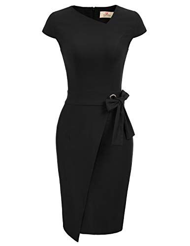 GRACE KARIN Robe Moulante Femme Rockabilly Cap Manche Taille Élastique Noir M CL867-1