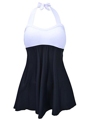 Azue Einteilig Tankini Set Neckholder Swimdress Bauchweg Bademode Badeanzug für Damen und Mädchen Weiß und Schwarz EU 42-44 (Tag L) (Ausgeschnitten Schößchen-kleid)