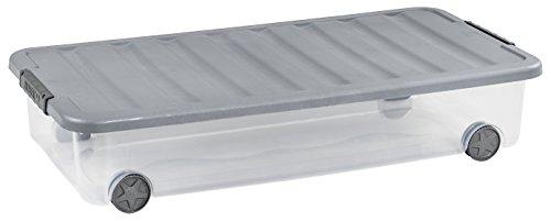 ALLIBERT 224070 Boîte de Rangement Dessous de Lit avec Couvercle, Plastique, Transparent/Gris, 79 x 39 x 16 cm