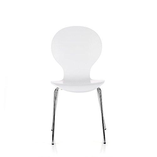 interougehome Lot de Deux chaises à Manger en Bois, chaises pour Cuisine ou Salle à Manger en Bois - Blanc