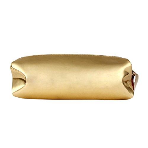 Toamen Trousse de Maquillage Sac de Rangement cosmétique Zipper Boxes Laser Square Mode Mini Cinq couleurs (Or)