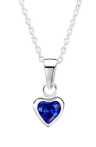 Price comparison product image Jo for Girls Sterling Silver and Dark Blue Cubic Zirconia Heart Pendant on 35.5cm Chain