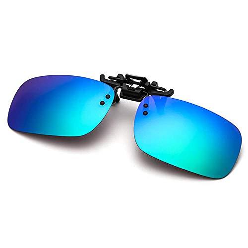 Polarisierte randlose Gläser AOLVO Metall Flip up Clip on Sunglasses Leicht Gewichts Außen Fahren Angeln Sonnenbrillen für Männer und Frauen Unisex Brillenträger (Blau)