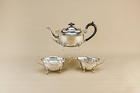 Versilbert Tee-Set Trio Teekanne Sahnezucker Schüssel Birmingham Handwerk Kaffee Englisch Mitte des 20. Jahrhunderts LS