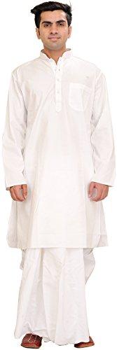 Exotic India Bright-White Plain Dhoti Kurta Set - White Garment Size 50 - Dhoti Kurta
