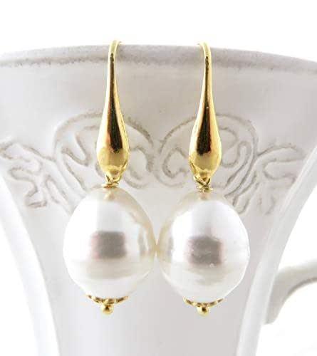 Orecchini con perle bianche barocche, pendenti in argento 925 dorato, gioielli classici, bijoux sposa, regalo per lei