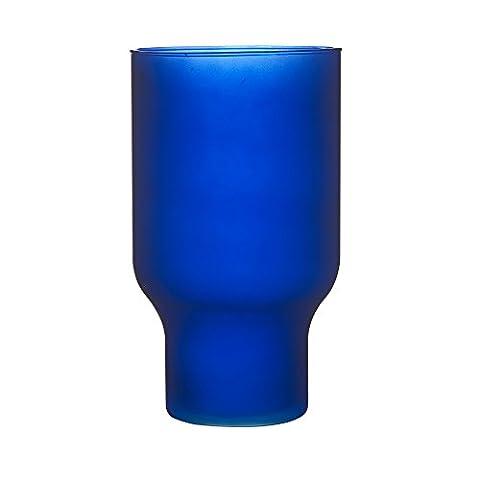 Ravenhead Naturals Hurricane Vase décoratif en verre soufflé, Bleu mat, 30cm