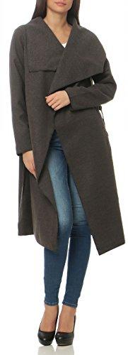 malito Damen Mantel lang mit Wasserfall-Schnitt | Trenchcoat mit Gürtel | weicher Dufflecoat | Parka �?Jacke 3040 Grau