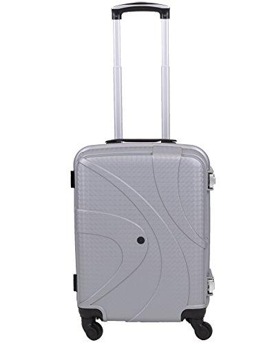 Handgepäcktrolley ZÜRICH Hartschalen Koffer Telescop Trolley Boardcase mit TSA Zahlen-Schloss und 4 Leichtlaufrollen verschiedene Farben Farbe orange silbergrau