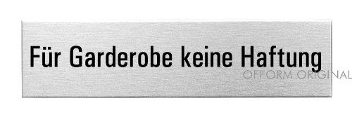 """OFFORM Türschild l Wortschild l Hinweisschild aus Edelstahl l """"Für Garderobe keine Haftung"""" l 160x40 mm l Nr.8341"""