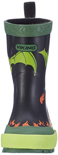 Viking Unisex-Kinder Drage Gummistiefel Schwarz (Black/Lime)