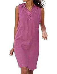 159b2f5ed8 VEMOW Vestido sin Mangas con Cuello en V de Color sólido para Mujer Verano  en la