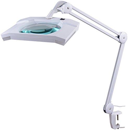 Komerci KML-9002 LED Kaltlicht Lupenleuchte Kosmetik Lupenlampe, 5 Dioptrien, dimmbar, Gelenkarm,...