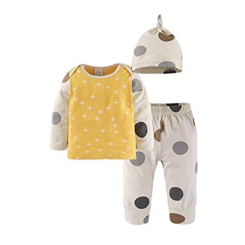 Hut Gelb T-shirt (Xinwcanga Newborn Baby Junge Mädchen Lange Ärmel T-Shirt + Hosen + Hut Outfits (Gelb, 90))