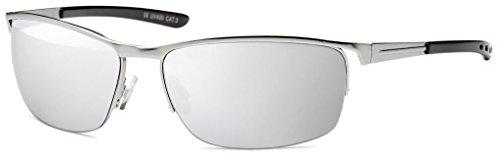 Balinco Top Herren Sonnenbrille Sunglasses Sportbrille Matrix Rad Brille Radbrille Sport (Silver)