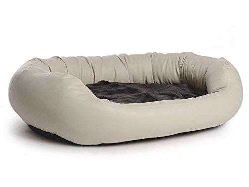 PadsForAll Hundebett Fancy, Bezug aus Kunstleder, in Creme, orthopädisch, Memory Foam, EIN richtiges Wohlfühl-Bett (Karton Fancy)