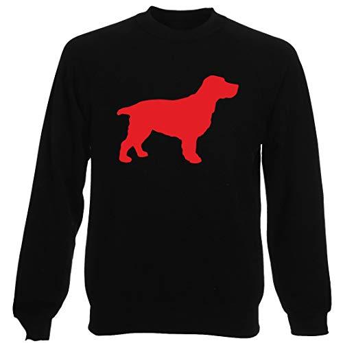 Rundhals-Sweatshirt fur Mann Schwarz WES066037 Silhouette A Cocker Spaniel Dog A Wall Art Sticker IN 4 Sizes & 24 Colours Cocker Spaniel T-shirt Sweatshirt