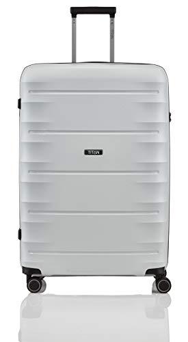 """TITAN Super Leichter Hartschalenkoffer \""""Highlight\"""" in 4 Größen im Carbon Look, Handgepäck mit Vortasche Koffer, 75 cm, 107 Liter, Off-White"""