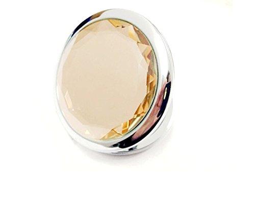 Monicaxin-TM borsa doppio compact cosmetici specchio con crystal inossidabile. (giallo/yellow