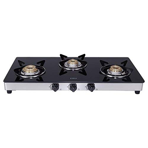 Elica Vetro Glass Top 3 Burner Gas Stove with Double...