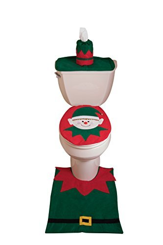 Set decorazioni bagno a tema elfo - copertura per portafazzoletti, scarico, tavoletta e tappetino - verde e rosso
