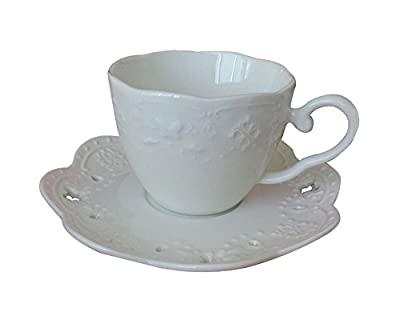 niceEshop(TM) Butterfly Embossment Coffee Bar Porcelain Cappuccino Cup and Saucer Set