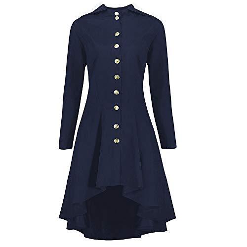 HEL Frauen vorne Button zurück Stricken Lange Jacke Kleid Mode Damen Steampunk Lace Up mit Kapuze...