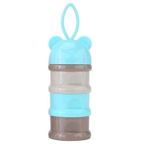 Bebé Envase de leche de alimentación Dispensador de Fórmula Infantil Snacks de Tres Parrillas Cajas de Suministros de Dulces con Arnés Portátil - 3 Alimentaciones, sin Fugas de Polvo (Azul)