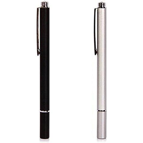 Pro Fine Point universal lápiz táctil para iPhone iPad de Apple,Táctil capacitiva de lápiz óptico de pantalla para Samsung tabletas Kindle Fire, y cualquier otra Móvil (Negro+Plata)