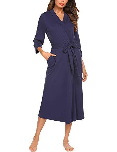 UNibelle Damen Morgenmantel Bademantel Kimono Saunamantel mit Tiefer V-Ausschnitt Nachthemd Baumwolle Tiefes L -