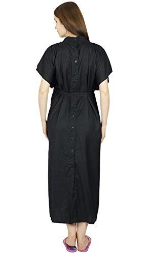 Bimba Hôpital maternité Kaftan avec ceinture Robe de Nuit, Front & Back Buttons Noir