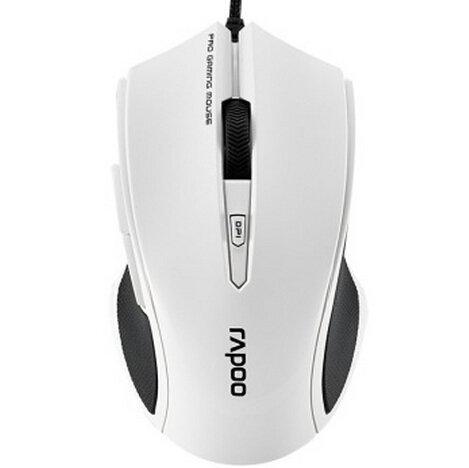Auawak Rapoo V20 Gaming-Maus für Laptops und Desktop-PCs, ergonomisch, programmierbar, 16 Millionen Farben, intelligentes Atmen mit 60 IPS, 12 MHz ARM Core Pro, Flammenweiß RGB E-Sport Gaming White