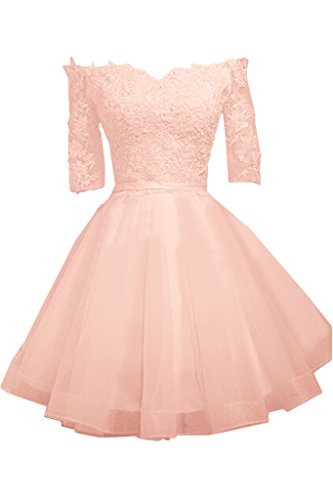 Ivydressing Damen Sweetheart Halb Aermel Mini Spitze&Tuell Partykleid Promkleid Festkleid Abendkleid Rosa