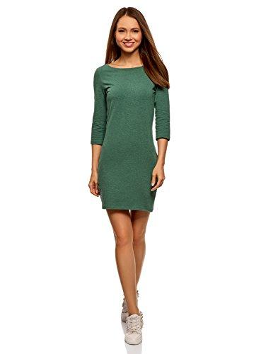 oodji Ultra Damen Jersey-Kleid Basic, Grün, DE 40 / EU 42 / L (Jersey 3/4)