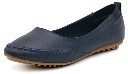 AgeeMi Shoes Damen Slip On Rund Schließen Zehe Rein Flache Ballerinas Schuhe,EuD10 Blau 41 (Damen Flache Schuhe Zehen)