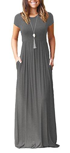 VIISHOW Frauen Kurzarm Bodenlangen kausalen Ebene Lose Maxi Tasche Kleid (Grau M) (Die Manuelle Ebene)