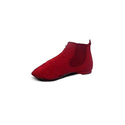 Wxmddn Scarpe da ballo di jazz di alta cima scarpe morbide scarpe pratica inferiore al coperto scarpe di tela canvas Rosso