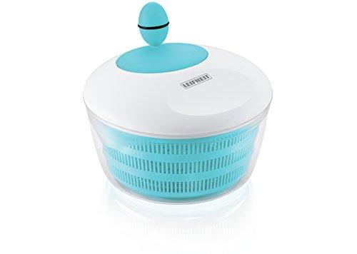 Leifheit Salatschleuder Colour Edition Sky Blue für Rechts- und Linkshänder, moderne Salatschüssel zum Servieren, Küchenhelfer in trendiger Farbe
