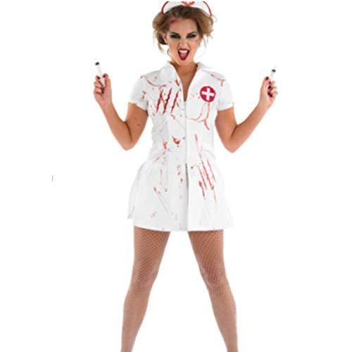 Damen Halloween Krankenschwester Kostüm Erwachsene weibliche Krankenschwester Arzt Kleid ()