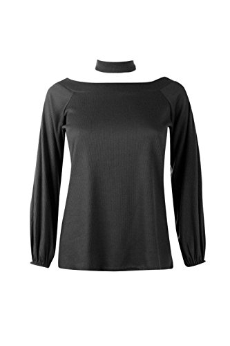 Femmes Noir Darcy Rib Off The Shoulder Top With Choker Noir