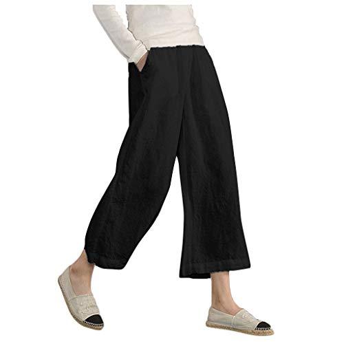 Setsail Damenmode Lässig Elastische Taille Leinen Lose Hosen Weite Leggings Hosen Hüfthose Sporthose Laufhose Einfach Bequemes Hose -