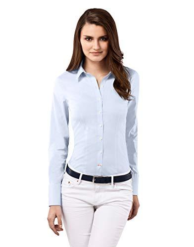 Vincenzo Boretti Damen Bluse besonders tailliert mit Stretch Langarm Hemdbluse elegant festlich Kent-Kragen auch für Business und unter Pullover eisblau 42 -